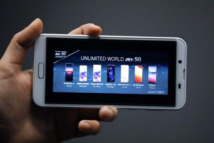 5Gへの移行が進む携帯電話(2020年3月にインターネット中継で行われたKDDI【au】の5Gサービス発表会/時事通信フォト)