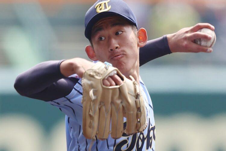 東海大相模の左腕、石田隼都投手(時事通信フォト)